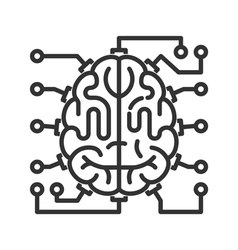Brain-microchip line icon vector image