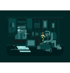 Burglar in the apartment vector image