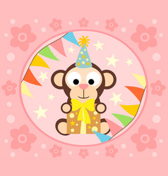 Cartoon background with funny monkey vector