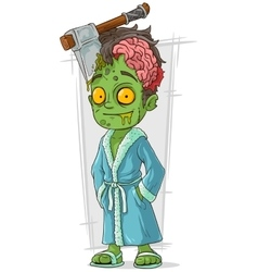 Cartoon funny green zombie in bathrobe vector
