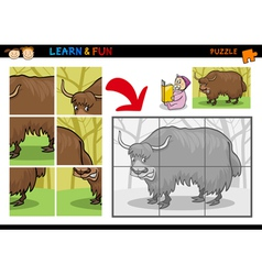 Cartoon yak puzzle game vector image