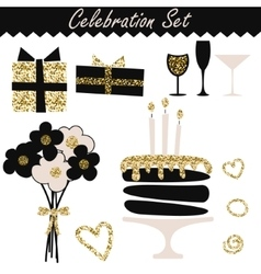 Celebration black and gold fashion birthday set vector