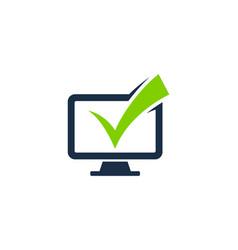 Check computer logo icon design vector