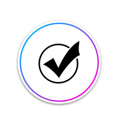 check mark in round icon on white background vector image