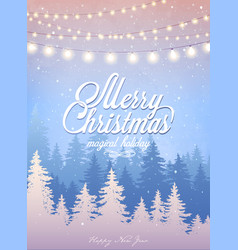 christmas card with forest and snowfall magical vector image