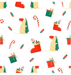 christmas seamless pattern with funny mice vector image
