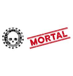 Collage mortal virus icon with distress mortal vector