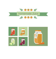 Collection of jars with juice objects vector