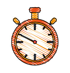 color drawing pencil cartoon stopwatch graphic vector image