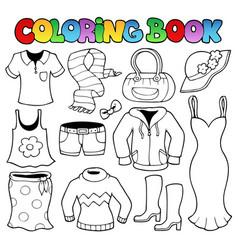 coloring book clothes theme 1 vector image