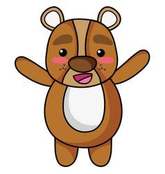 Cute and cheerful bear wild animal vector
