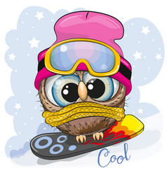 cute cartoon owl on a snowboard vector image