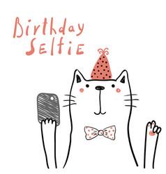 Cute cat birthday card vector