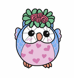 cute owl with roses and pink heart cartoon vector image