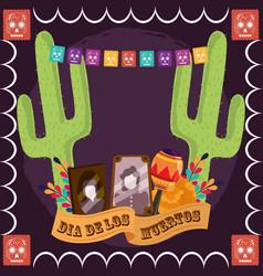 day dead photos frames maraca cactus vector image