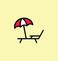 deckchair with umbrella icon thin line color vector image