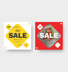design square banner for big sale with red and vector image