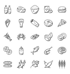 Doodle icons collection of food items vector