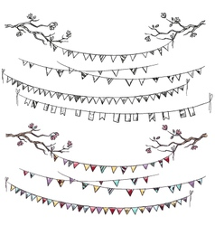 Doodle tree branches and party flags vector