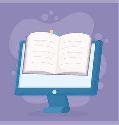 Education online computer with ebook learning vector