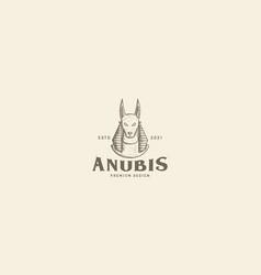 Engrave egypt anubis dog logo symbol icon design vector