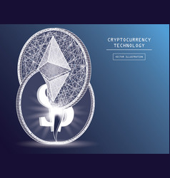 Ethereum digital currency coin damage world vector