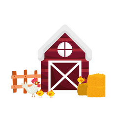 farm animals rooster and chickens barn fence hay vector image