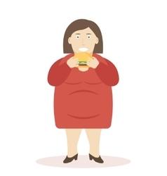 Fat Woman Eating Burger vector