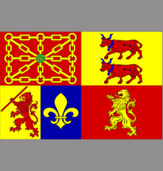 Flag of pyrenees-atlantiques in lot-et-garonne of vector