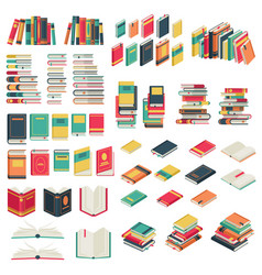 flat books set book school library publishing vector image
