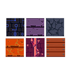 flat set of 6 seamless textures and vector image