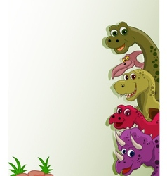 Funny dinosaur cartoon collection vector