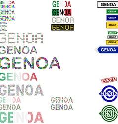 Genoa text design set vector