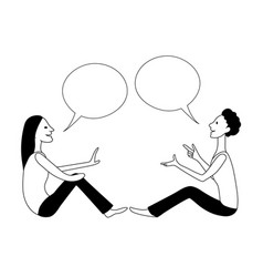 girl and boy are talking using sign language vector image