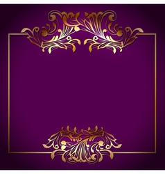 Golden square victorian floral frame vector