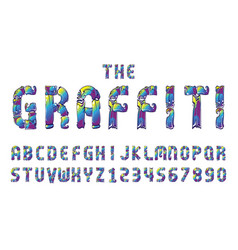 graffiti fonts alphabet letter numbers vector image