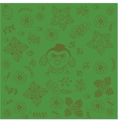 Green backgrounds flowers doodle art vector
