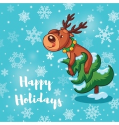 Happy Holidays card with cute cartoon deers vector image