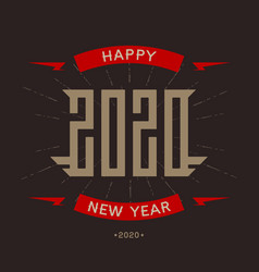 happy new year 2020 - poster with stylized vector image