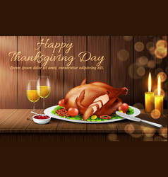 happy thanksgiving day realistic background vector image