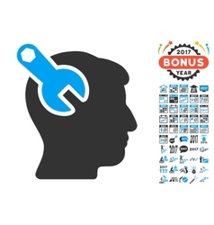Head Neurology Wrench Icon With 2017 Year Bonus vector