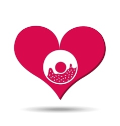 Heart red cartoon donut icon design vector