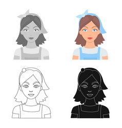 Housekeeper icon in cartoon style isolated on vector