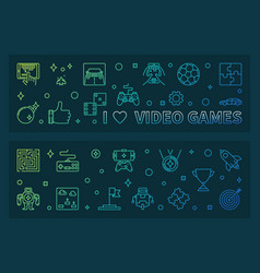 I love video games outline colorful banners vector