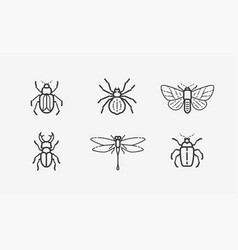 insects icon set animals in linear style vector image