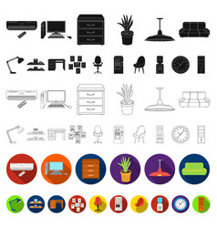 interior of the workplace flat icons in set vector image