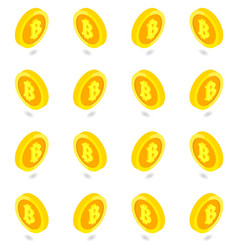 isometric golden bitcoin set isolated pattern vector image