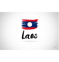 laos country flag concept with grunge design icon vector image