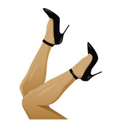 Legs in black high heels vector