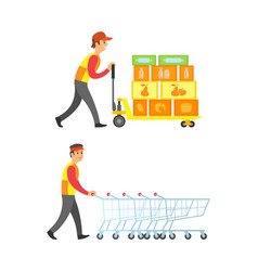 Loader worker man with boxes and containers vector
